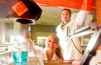 Student researchers in the lab